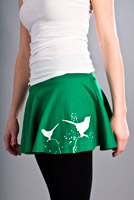 bird design on mini skirt