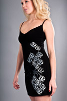 floral damask dress in black
