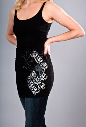 damask floral tunic black