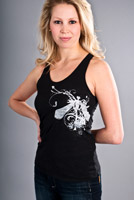 dragonfly design on black tank top