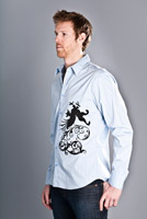 gryphon design on dress shirt blue