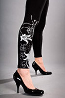 tights with floral damask design